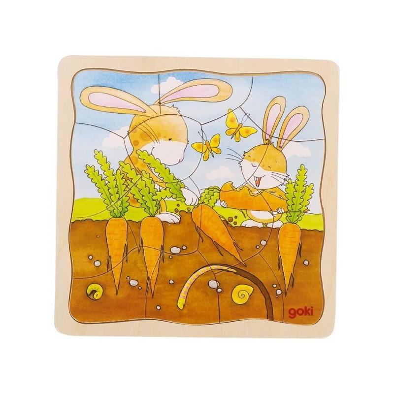 Puzzle warstwowe drewniane - Uprawa marchewki