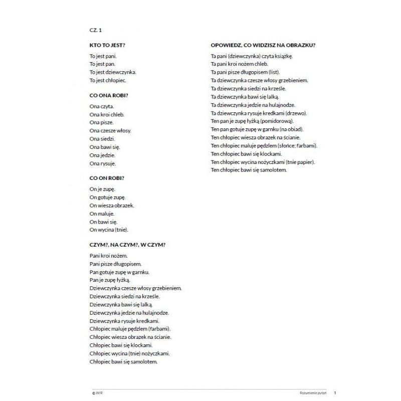 Rozumienie pytań. Ćwiczenia kompetencji językowych