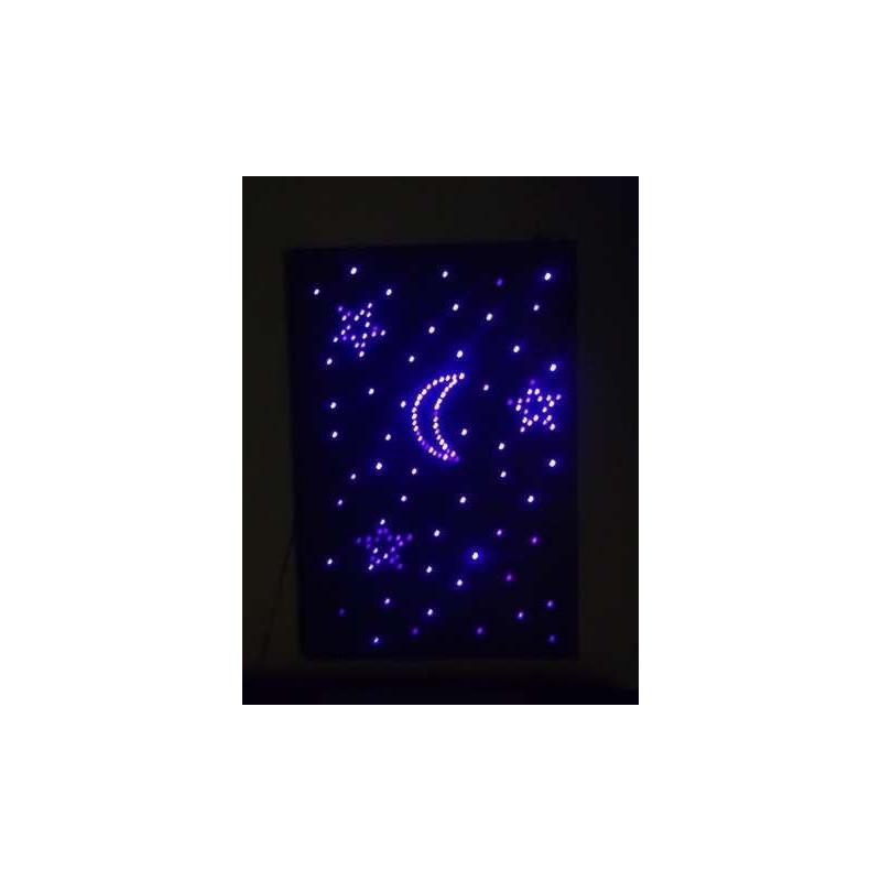 Podwieszane rozgwieżdżone niebo 200 x 125 x 14 cm ( 100 punktów świetlnych zakończonych gwiazdkami)