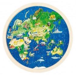 Edukacyjne dwustronne puzzle mapa Świata