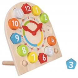 Zegar edukacyjny z kolorowymi klockami