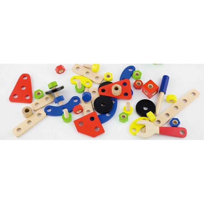 Drewniany zestaw konstrukcyjny - 68 elementów