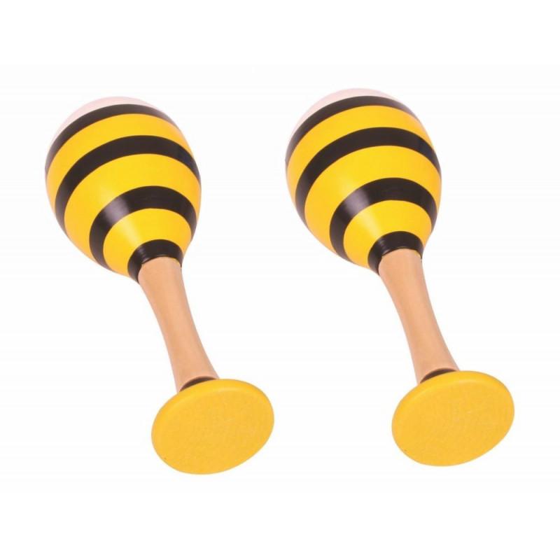 Drewniane marakasy do terapii logopedycznej (2 szt.) - pszczółki