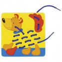 Zwierzaki - sznurowanka - nawlekanka (5 zwierzątek). Pomoc motoryczna