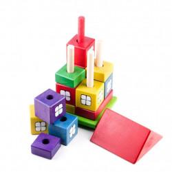 Drewniany domek układanka. Pomoc zręcznościowa