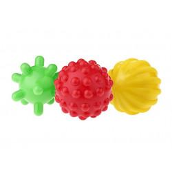 Piłki sensoryczne w zestawie (3 sztuki) - 6x6,5x7,5 cm