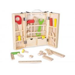 Drewniana skrzynka z narzędziami. Pomoc manipulacyjna