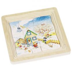 Puzzle warstwowe drewniane - Pory roku