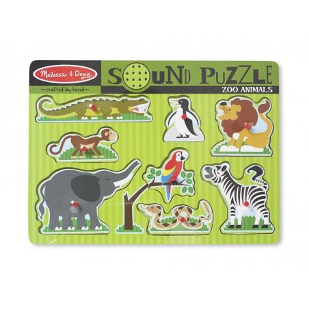 Drewniane puzzle dźwiękowe Zoo
