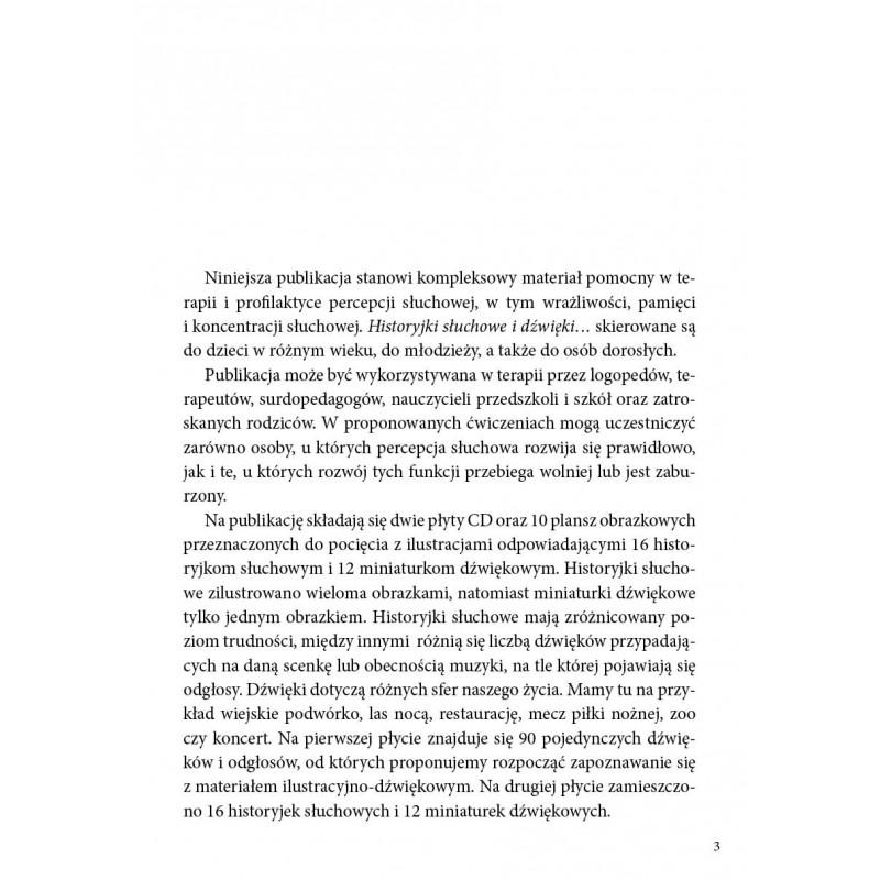 Historyjki słuchowe i dźwięki. Materiał ilustracyjno-dźwiękowy do usprawniania percepcji i pamięci słuchowej