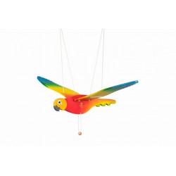 Latający ptak. Kolorowa drewniana Papuga