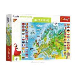 Edukacyjne puzzle - Mapa Europy 160 elementów