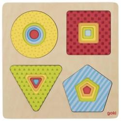 Puzzle warstwowe drewniane - Figury geometryczne (kształty)