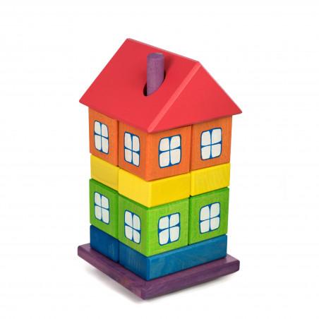 Tęczowy drewniany domek układanka. Pomoc zręcznościowa