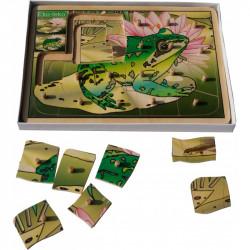 Drewniana układanka warstwowa (puzzle) - Żabka