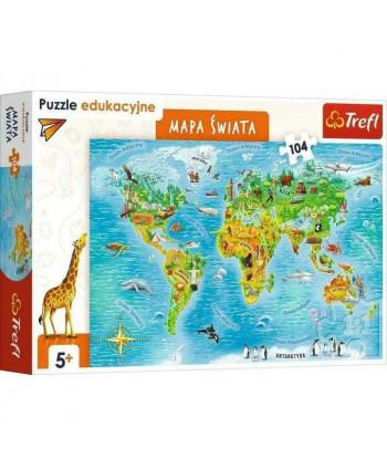 Mapa Świata. Edukacyjne puzzle 104 elementy