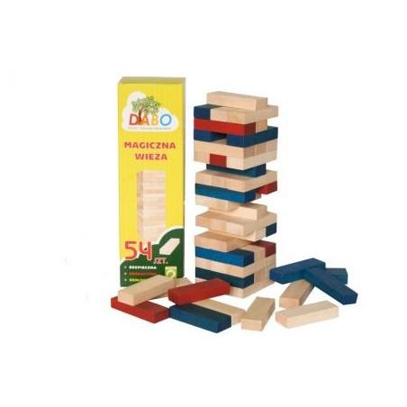 Magiczna wieża drewniana kolorowa. Klocki drewniane